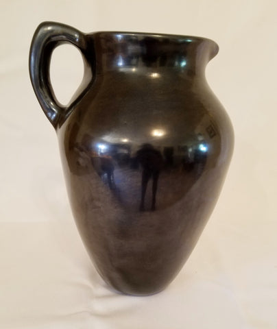 Native American, Santa Clara, Black Pottery Pitcher, by Jason Ebelacker (1980-), #1150