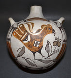 Native American Laguna Poly chrome Pottery Canteen, C 1940's-1950's, by Cecilia Gaisthea, #801
