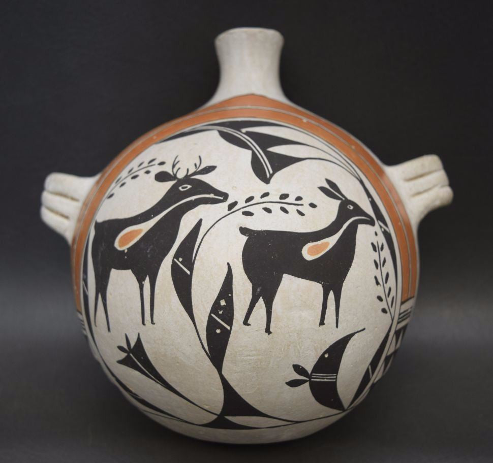 Acoma Pottery Canteen by Jessie Garcia, Ca 1970's, #943