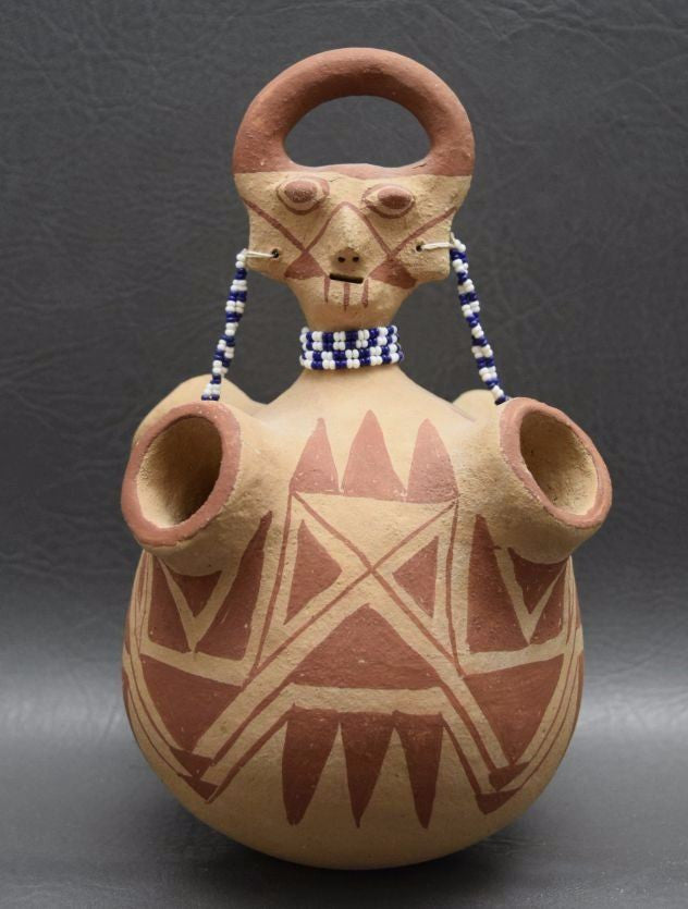 Native American, Mojave Pottery Effigy Vase, by Elmer Gates, Ca 1970's, #1033