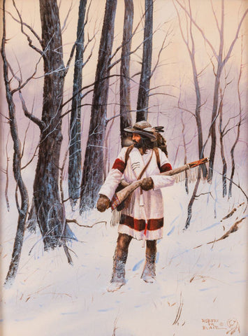 "Western Artist, Robert Blair, Water Color Painting, ""Another Mans Tracks"", Ca 1984, #1091"
