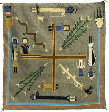 Native American, Navajo Yei Pictorial Weaving, Ca 1970's, #1083