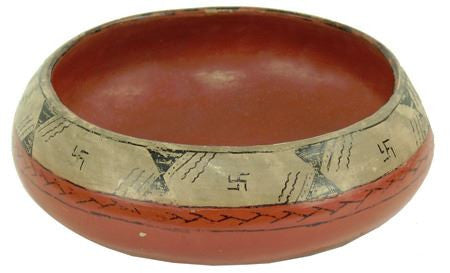 Native American, Maricopa Poly Chrome Pottery Bowl, by Lula Young, Ca 1940's, #1124-Sold