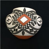 Native American Vintage Acoma Poly Chrome Pottery Olla, by Adrian Vallo, Ca 1992, #1324