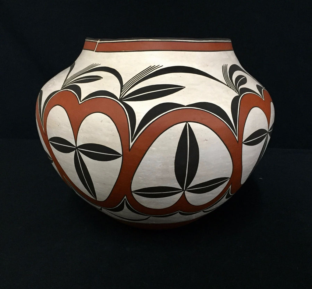 Native American Vintage Acoma Poly Chrome Pottery Olla, by Adrian Vallo, Ca 1993, #1325