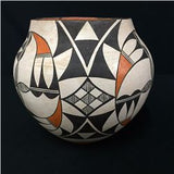 Native American Vintage Acoma Poly Chrome Pottery Olla, Ca 1960's, #1326