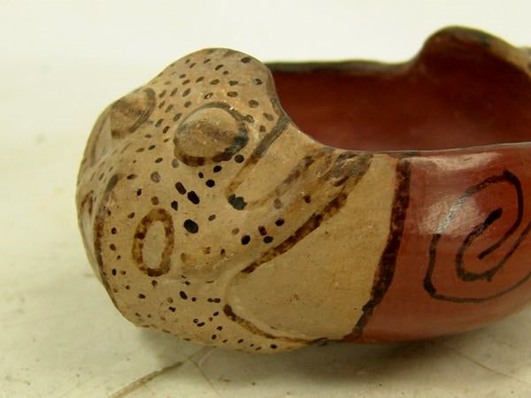 Native American Vintage Maricopa Pottery Frog Bowl, by Mabel Sunn (1898-1980), Mid 1900's, #1343