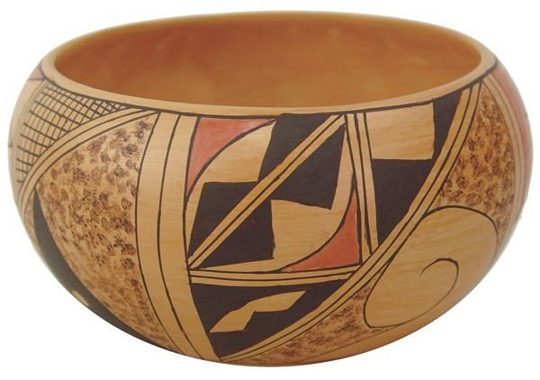 Native American, Vintage Hopi Poly Chrome Pottery Bowl, by Kathleen Collateta, Ca 1980's, #1382