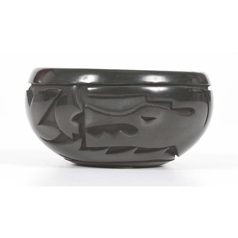 Blackware Pottery Bowl by Lucy Year Flower Tafoya,  Pojaque/Santa Clara: 1935-2012), Ca 1982, #1293