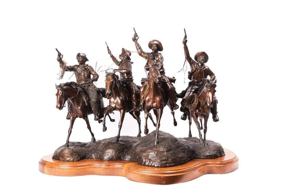 "Bronze Sculpture, ""Headin for the Red Eye"" by James P. Regimbal 1949-),1982 (c) 12/35. #1424"