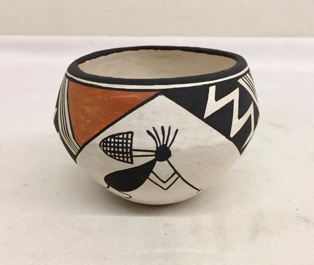 Native American, Rare Vintage Acoma Pottery Bowl, by Lucy Lewis (1898-1992) and V. Garcia, Ca. 1970's, #1443