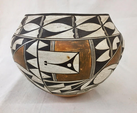 Native American Vintage Acoma Poly Chrome Pottery Olla, Ca 1950's, #1469