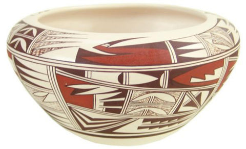 Native American, Vintage Hopi Poly Chrome Pottery Bowl, by Marianne Navasie Ca 1980's-1990's, #1491