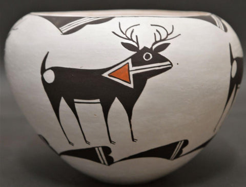 Native American, Vintage Acoma Polychrome Pottery Bowl, by Dolores Lewis, Ca 1990's, #1517
