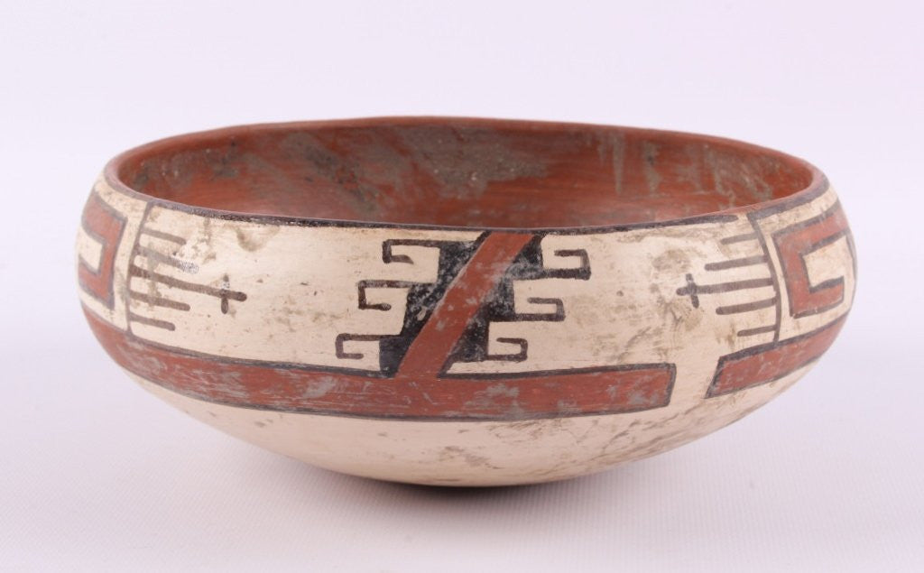 Native American Vintage Zuni Poly Chrome Pottery Bowl, #830