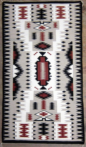 Native American Navajo Hand Woven Storm Pattern Rug/Weaving, Ca 1970-90, #845