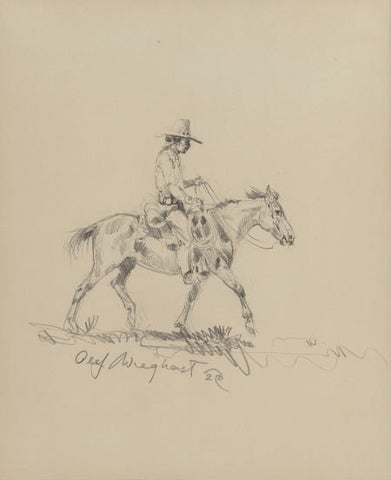 "Olaf Wieghorst (American, 1899-1988) Pencil Sketching, ""Indian on Horse"", C 1929, #850"