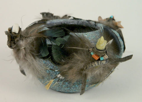 Native American, Ceremonial Zuni Pueblo Turquoise Encrusted Fetish Bowl, Ca 1960's-70's, #1375
