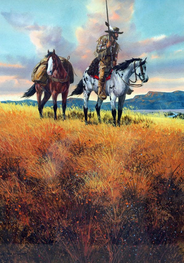 Western Artist Ron Stewart Water Color Painting Titled Free Trappe