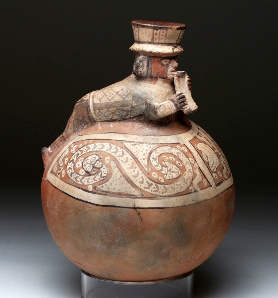Pre Colombian Rare/Large Chancay Pottery Olla-Serpents and Human, #911