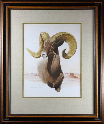 "Watercolor: William Warren Dailey (American,. 1920-2002), Gouache on Paper ""Desert Bighorn"", #925"
