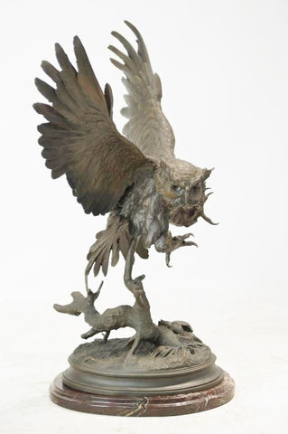Bronze Sculpture, After Jules Moigniez (French 1835-1894), Le Hibou-The Owl,#933