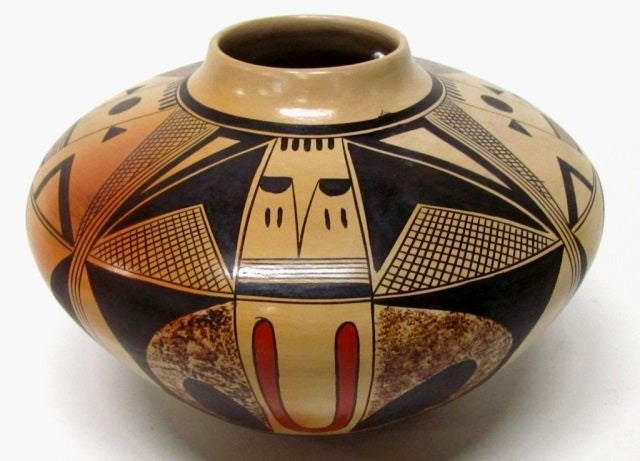 Native American, Hopi Poly Chrome Pottery Bowl, by Adelle Nampayo, 1970's, #1021  Sold