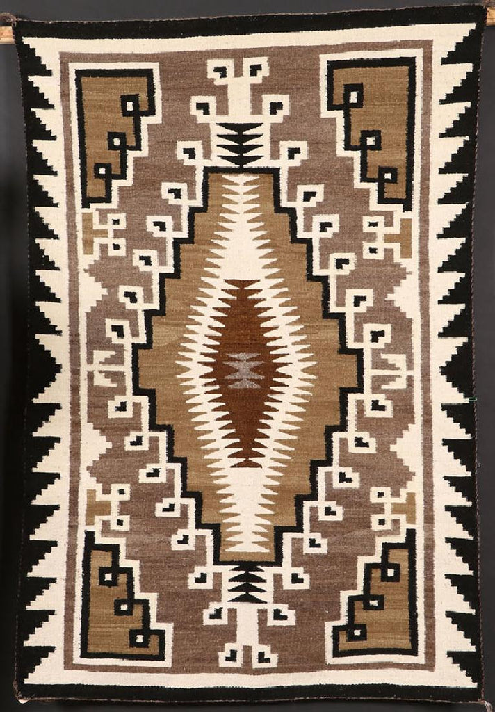 Navajo Two Grey Hills Wool Textile, by Nellie Succo, Ca 1977, #1097