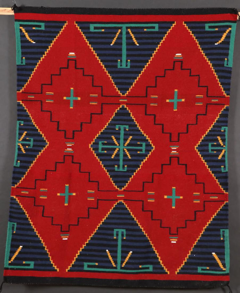 Native American Hand Made Vintage Navajo German Town Style Wool Textile, by Sherly Sandeval, Round Rock TX, #1099