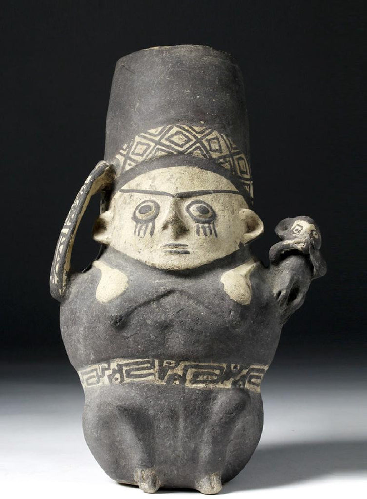 Chancay Bi-Chrome Pottery Effigy Jar , Ca 1000 to 1470   CE, #1103