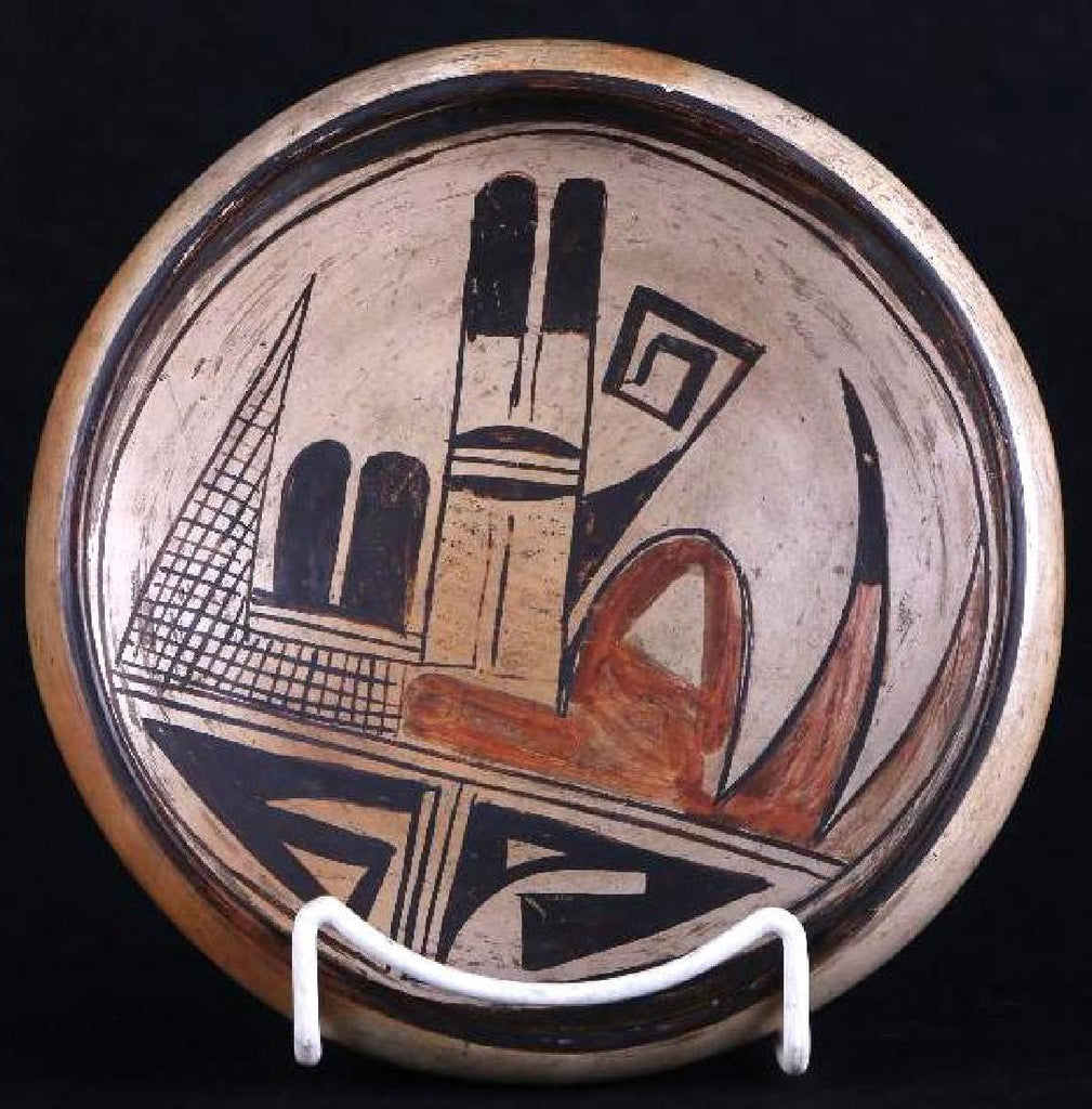 Vintage Hopi Poly Chrome Pottery Bowl With Abstract Bird Design, Ca 1920's-1930's, # 1107
