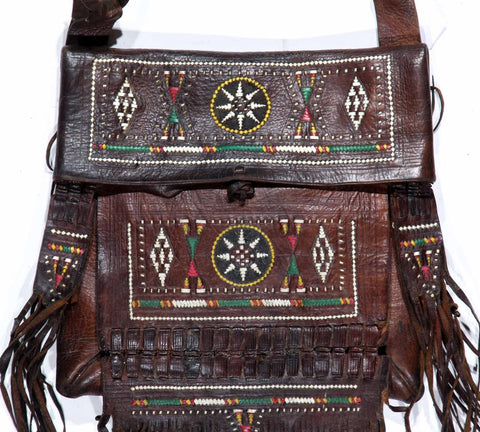 "Vintage Moroccan Tooled Leather Shoulder Bag, with Beads, Fringe, Ca 1970""s, #1145"