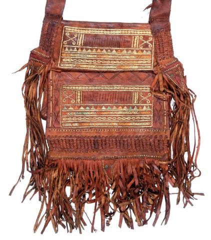 "Vintage Moroccan Tooled Leather Shoulder Bag, with Beads, Fringe, Ca 1970""s, #1146"