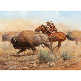 "Western Artist, Russ Vickers (American, 1923-2007), ""Buffalo Hunter"" Oil on board, 1983, #985 Sold"