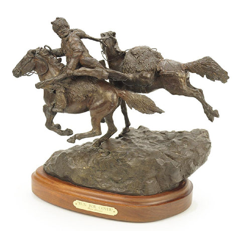 "Western Bronze Sculpture, ""Run For Cover"" By Listed Artist Ron Stewart, 2/35. #1221"
