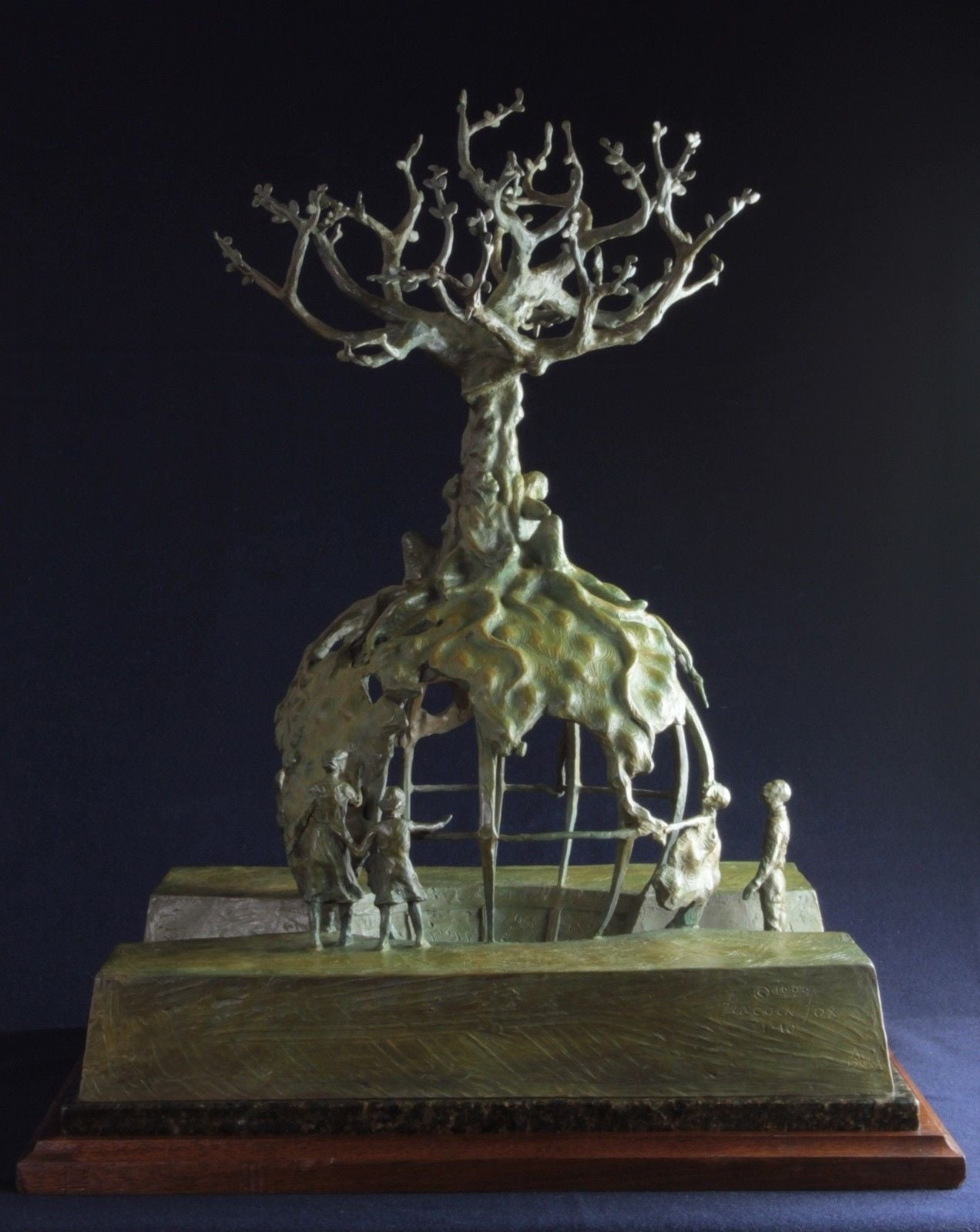 Bronze Sculpture Global Tree Of Life By Lincoln Fox Of - This beautiful bronze sculpture has been attached to a tree since 1968
