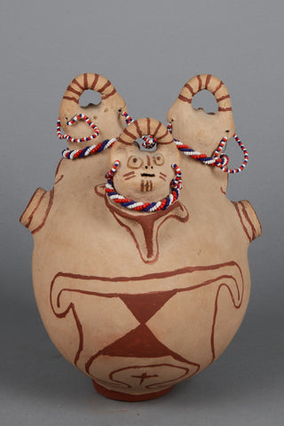 Native American, Vintage Maricopa Rare Triple Headed Effigy, by Barbara Johnson, Ca 1950's, #1395
