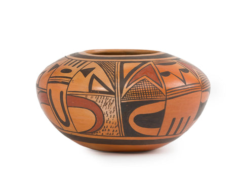 Native American Vintage Hopi Polychrome Pottery Bowl, by Leah Nampeyo, Ca 1960's-70's, #1532