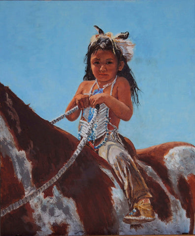 "Traditional Western Art, ""Being Very Brave"", by Linda Gulinson, #1351"