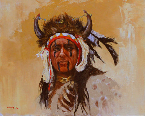 "Contemporary Western Art, Titled ""Buffalo Warrior"" , By Linda Gulinson #1371"