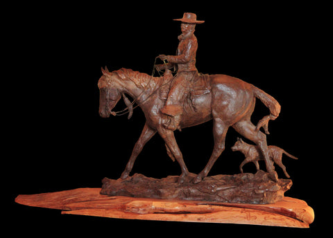 "Western Bronze Sculpture, by Renowned Western Artist, Jeff Wolf, Entitled ""Daybreak"" Limited Edition, Available 6 of 20, #1019"