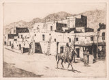 "Western Artist, Edward Borein (1872-1945). ""A Street in Taos"" Dry Point Etching, Galvin Plate #231, #885-"