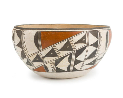 Native American, Vintage Acoma Poly Chrome Pottery Dough Bowl, Ca 1950's, #1501