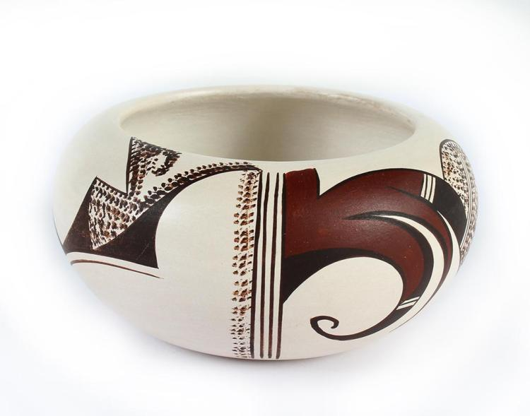 Native American, Vintage Hopi Poly Chrome Pottery Bowl, by Marianne Navasie Jim, 1980's, #1331