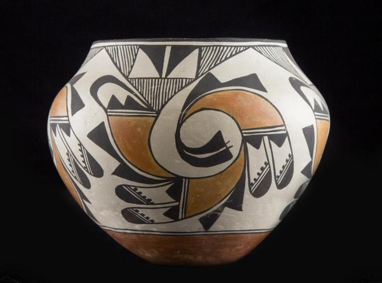 "Native American Vintage Acoma Poly Chrome Pottery Olla, ""Ca 1970's, #1222"