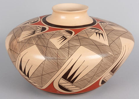 Native American, Extraordinary Large Vintage Hopi Poly Chrome Pottery Migration Pot, by Clinton Polacca Nampeyo, Ca. 1980's, #1446 Sold