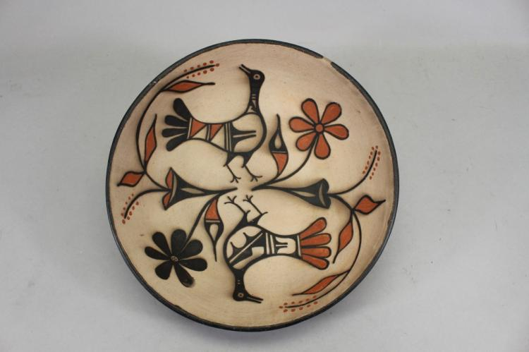 Native American, Santo Domingo Poly Chrome Pottery Bowl, by Robert Ten