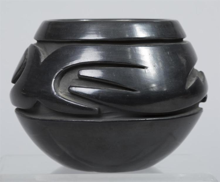 Native American, Vintage Santa Clara Blackware Pottery Bowl, by Stella Chavarria, 1970's, #1319