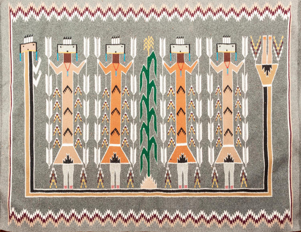 Native American, Exceptional Vintage Navajo Yei Weaving, by Lucy Farley (1940's-1994), Ca 1970's, #1480 Sold