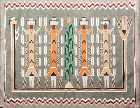 Native American, Exceptional Vintage Navajo Yei Weaving, by Lucy Farley (1940's-1994) , Ca 1970's, #1480